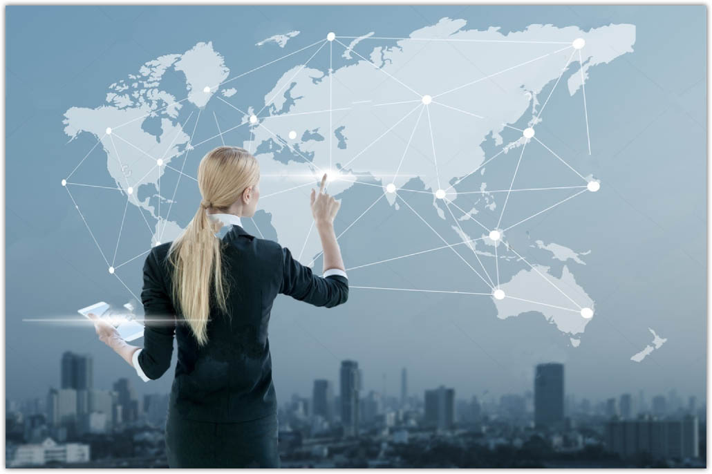 stock photo image of businesswoman pushing icon on media screen business globalization concept 255673228